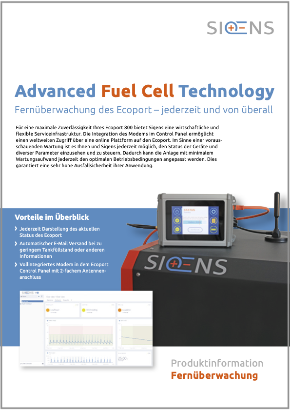siqens Ecoport fuel cell remote monitoring brochure
